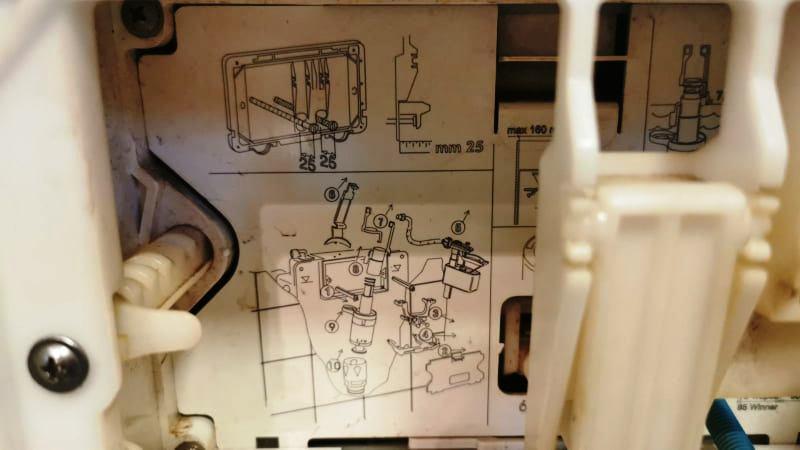 Beépített WC. tartály belsőrész és az alkatrészek rajza